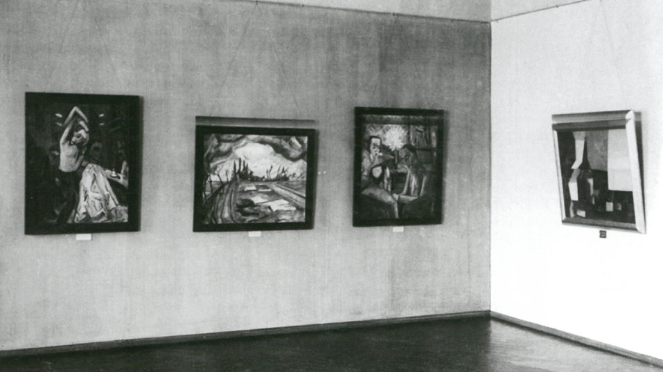 View of exhibition with works by Erich Heckel and Lyonel Feininger, 1930 | Photograph: Kulturstiftung Sachsen-Anhalt - Moritzburg Art Museum, Halle an der Saale, archive | © VG Bild Kunst, Bonn 2018 for the works of Lyonel Feininger
