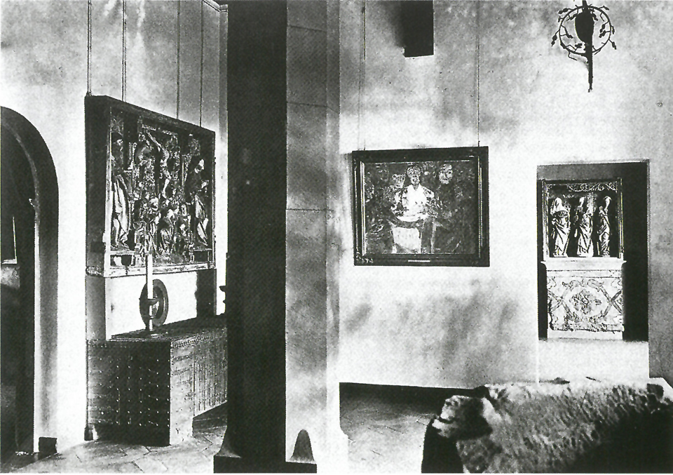 "The Gothic Revival room in the Talamt building of Moritzburg Castle, with Emil Nolde's ""The Last Supper"", 1920 